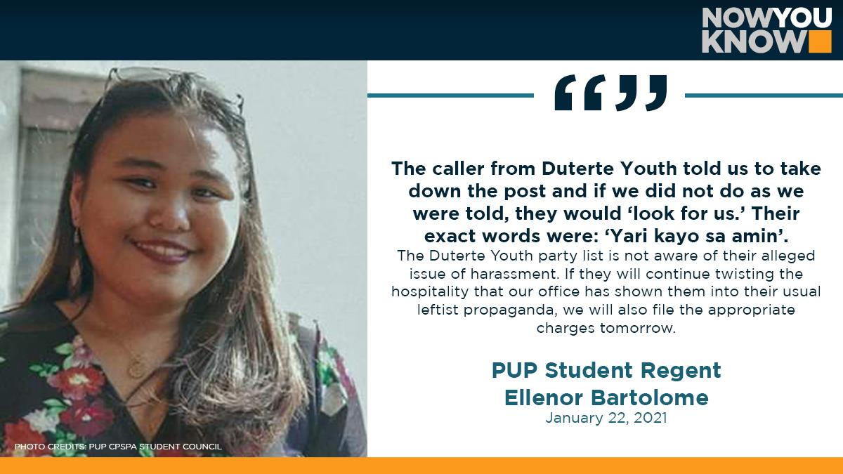 PUP student leaders claimed that they were threatened by party list group Duterte Youth hours after they submitted on Wednesday their position paper opposing the possible unilateral abrogation of the school's 1990 accord with DND. READ: bit.ly/397QntK 📰 Inquirer