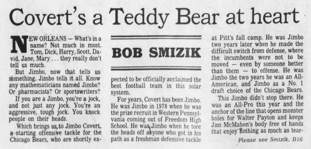 35 years ago (1/21/86): Smizik on Jimbo Covert. #WPIAL #H2P