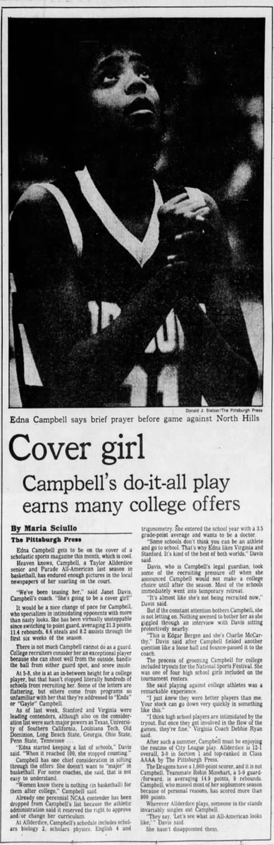 35 years ago (1/21/86): Allderdice's Edna Campbell draws major college interest. #CityLeague