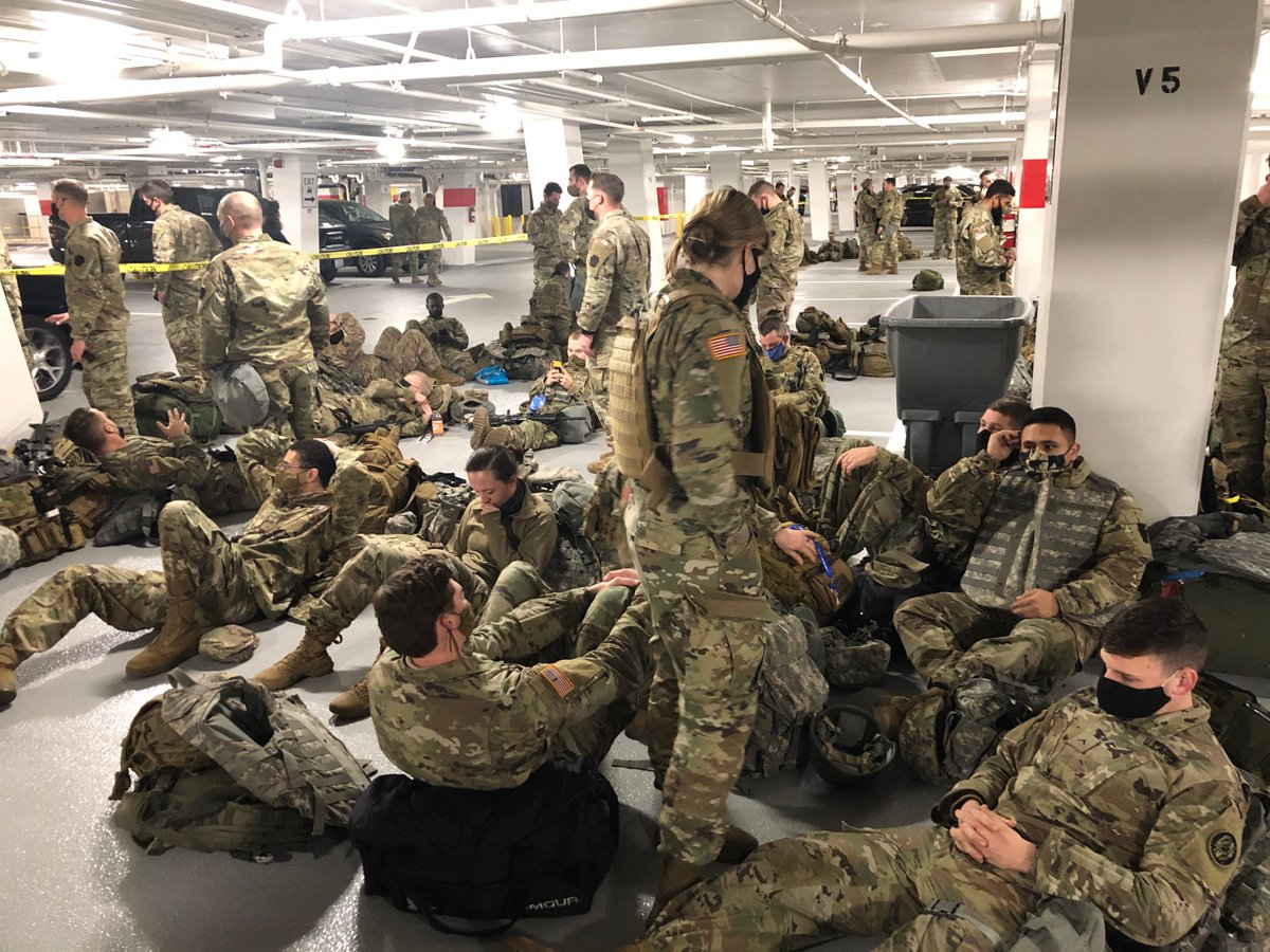 """""""Yesterday dozens of senators and congressmen walked down our lines taking photos, shaking our hands and thanking us for our service. Within 24 hours, they had no further use for us and banished us to the corner of a parking garage ..."""" one Guardsman said"""