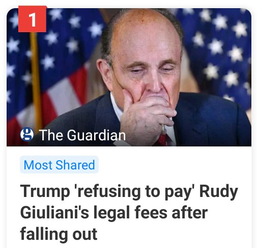 I almost feel sorry for #RudyGiuliani but anyone who trusts #Trump to have their back is an idiot.