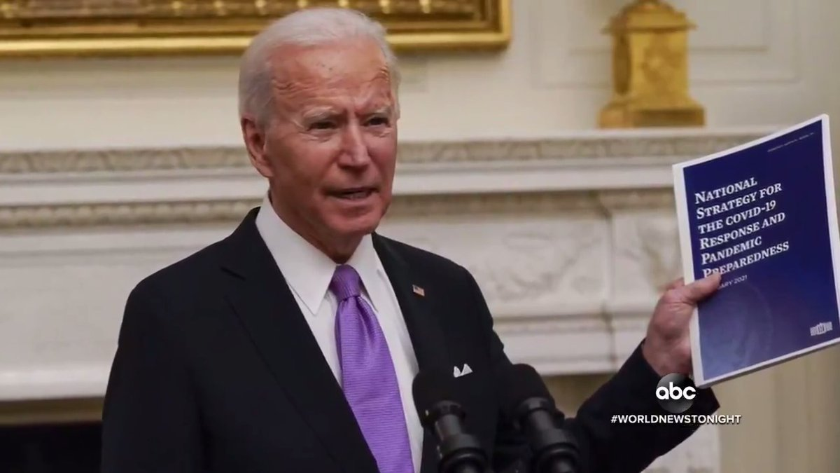 """BIDEN'S PANDEMIC PLAN: Pres. Biden released what he called a """"wartime"""" effort to end the coronavirus pandemic, including ramped up vaccination supplies and travel changes — as the country again records one of its deadliest days. @MaryKBruce reports."""