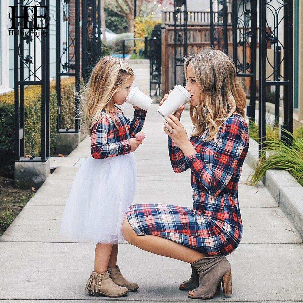 #siblings #sis Casual Plaid Printed Mom and Kid Matching Dress