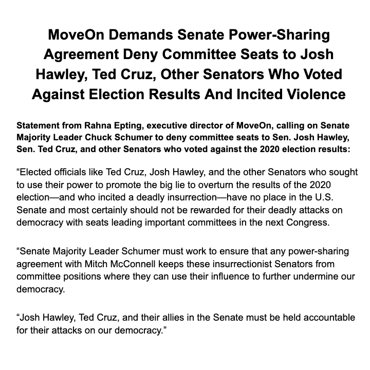We are calling on Senate Majority Leader Chuck Schumer to deny committee seats to Sen. Josh Hawley, Sen. Ted Cruz, and other Senators who voted against the 2020 election results. Our Statement: