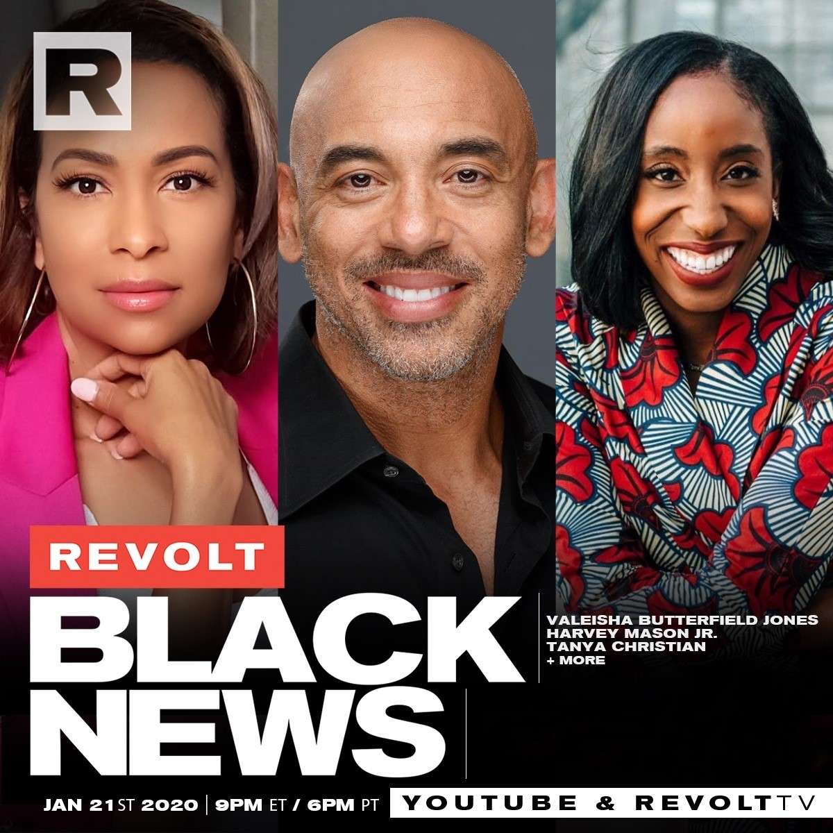 TONIGHT!  Tune into @RevoltTV at 6pm PT to see a discussion with our very own @Valeisha and @HarveyMasonjr, plus  @TanyaAChristian about Black representation/strides being made at the #RecordingAcademy to instill change!   📺 on REVOLT TV or REVOLT TV's YouTube. #REVOLTBLACKNEWS