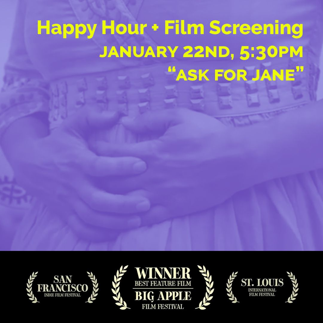 Don't forget to register for our virtual happy hour & film screening this Friday! Go to . #roevwade #roevwadeanniversary #happyhour #virtualhangs #zoomparty #janecollective #askforjane #roeanniversary #filmscreening #zoom #repealhyde #abortionrights