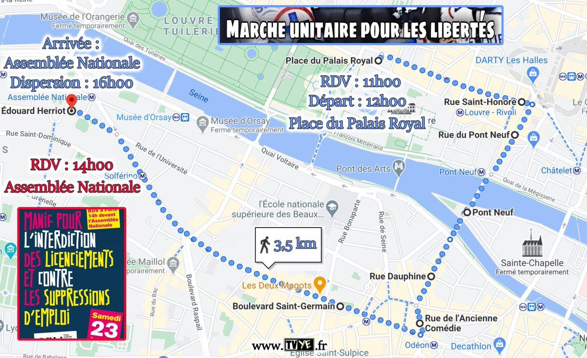 Samedi 23 janvier, deux #manifestations à #Paris: La marche unitaire pour les libertés partira à 12h du Palais Royal pour rejoindre l'Assemblée Nationale où se tiendra le rassemblement contre les licenciements et les suppressions d'emplois, qui débutera à 14h. Carte des parcours: