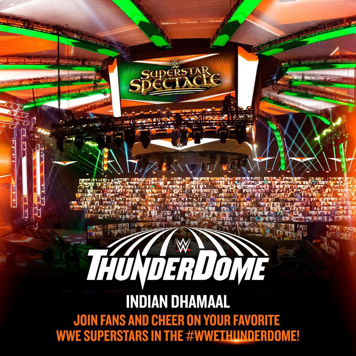 Replying to @BollywoodBoyz: Turning the #WWEThunderdome to the Bolly-Bolly-Bollywood dome 🎥🎬  #WWESuperstarSpectacle 🇮🇳