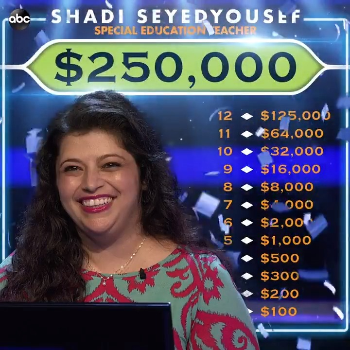 Congratulations to special education teacher, Shadi Seyedyousef, for her big win on #WhoWantsToBeAMillionaire 🙌