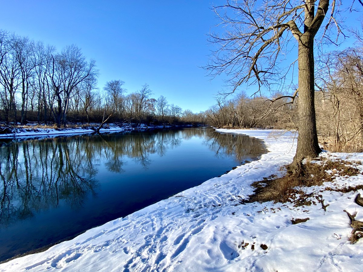 River-Forest Preserve #FPDCC blue sky-trees water reflections, snow-sunny Chicago winter weather January 21 2021 -Editorial Use Permission w/Credit: Michael Heimlich @MichaelHeimlich; #River  #Reflections #BlueSky #Trees #Snow #Sunny #wx #ILwx @NWSChicago #ThePhotoHour #StormHour