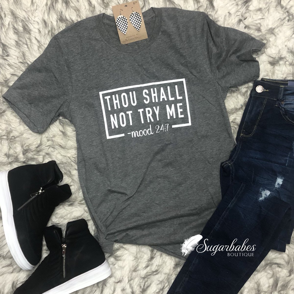 "THIS 👇🏻👏🏻👌🏻 ""Thou shall not try me"" tee just launched on the website! In store this weekend! You need one!     #shopSBB #boutiques #momlife #newarrival #musthave #boutiqueunique #newfavoritetee #boutiqueshopping #instyle #sassy #youvebeenwarned #bossbabe"