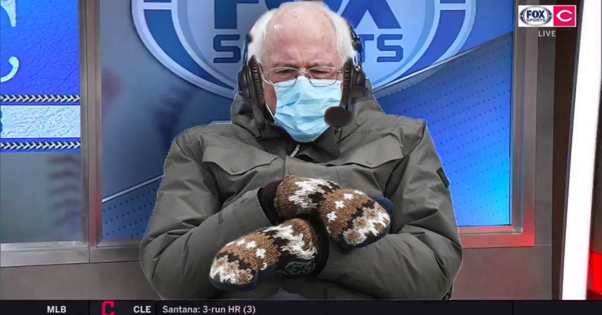 """People quote tweeting Bernie memes with """"this is the best one"""" like they're the final say for what's funny on the internet as theres a drive into deep left field by Castellanos and thatll be a home run and so thatll make it a 4-0 ballgame"""