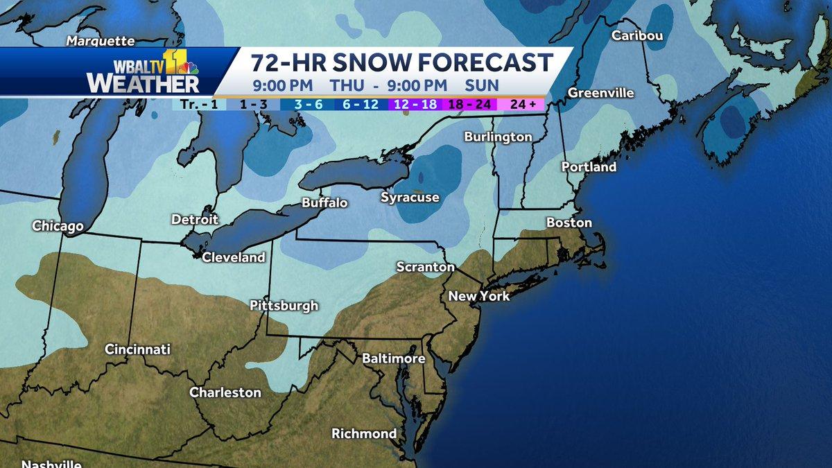 The European model snowfall forecast for the next 72 hours.  #snow #MdWx #PaWx #VaWx #WvWx