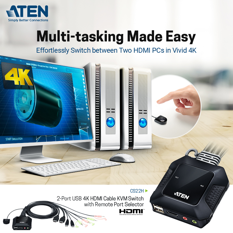 Need to easily switch between two computers with stunning 4K visuals ? The ATEN CS22H can do that!  Learn more here:   #ATEN #kvm #kvmswitch #kvmswitcher #switcher #wfh #workfromhome #hybridwork #4k #tech #simplybetterconnections