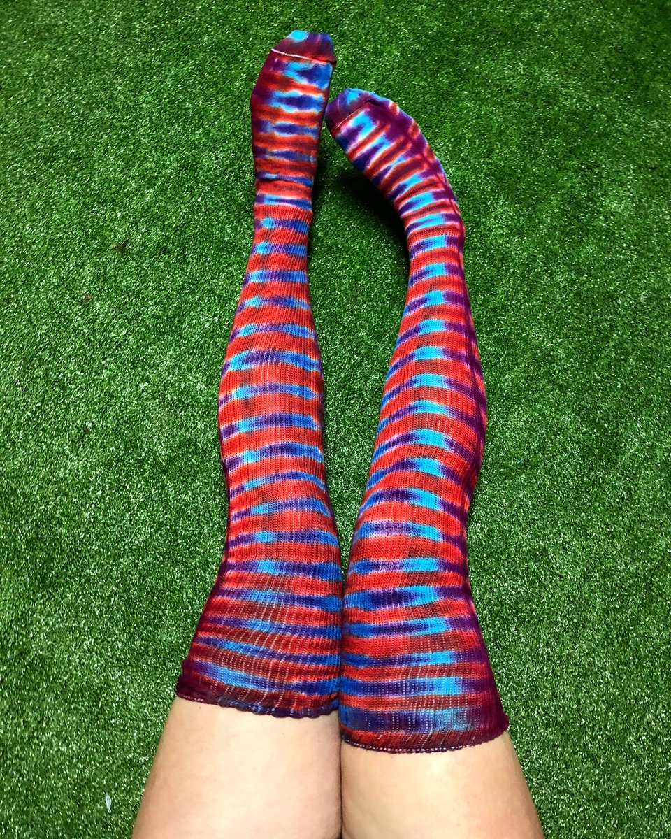 Just added a few ready to ship thigh highs to my shop! These are great as Valentine's Day gifts 💜 IthacaTieDyes.com
