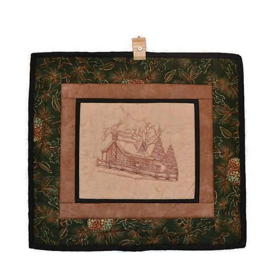 """""""Log Cabin"""" Quilted Wall Hanging  #quilt #logcabin #homedecor #wall #embroidery #toile #cabin #snow #trees #pinecone #brown #green #art #christmas #gift #homedecor #picture #quilting"""