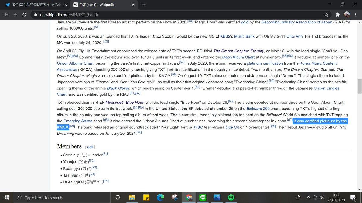 """@TXTSocialCharts """"It was certified platinum by the KMCA.""""  #투모로우바이투게더 #TXT #TOMORROW_X_TOGETHER     @TXT_members  @TXT_bighit"""