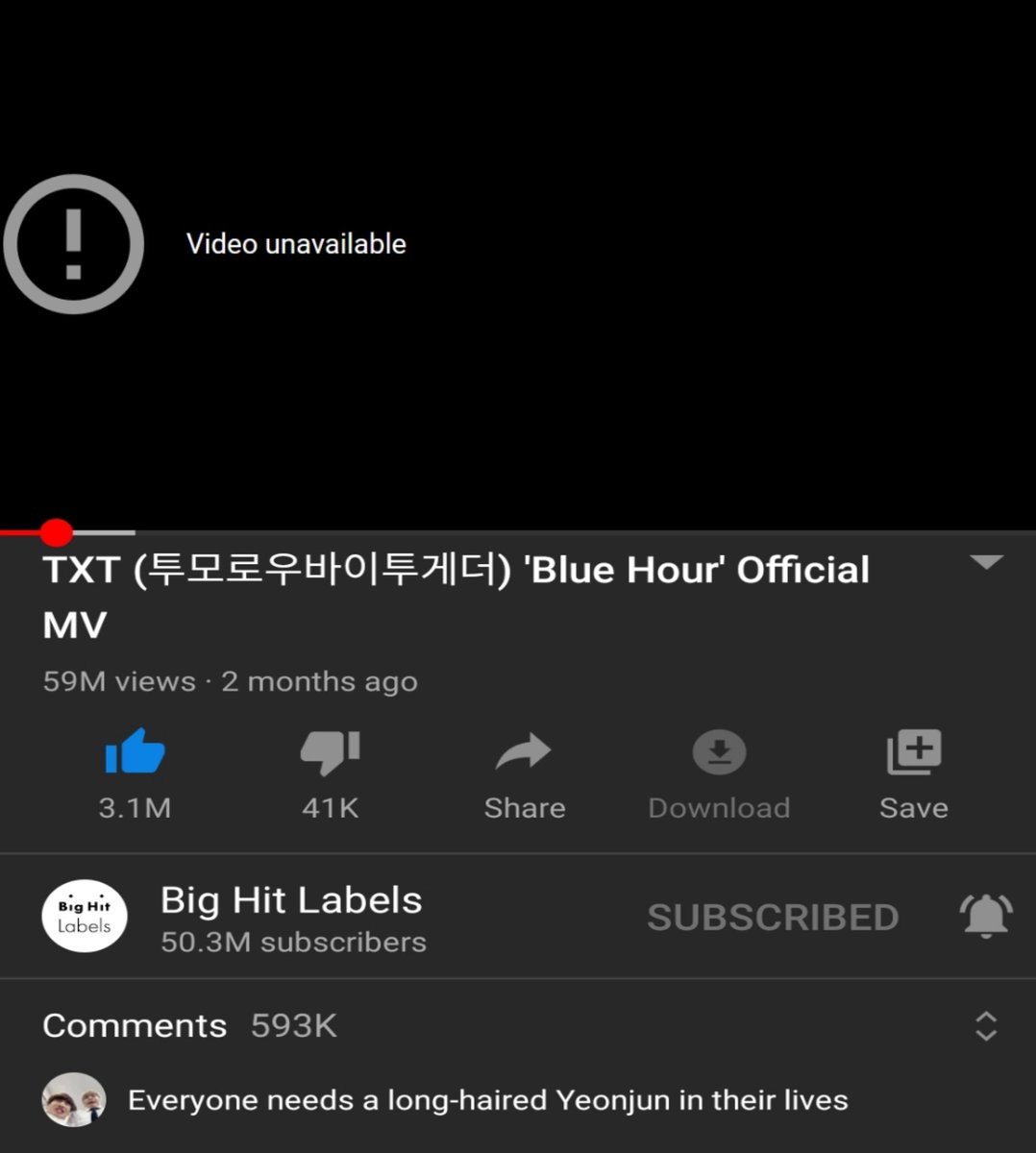 """Check this video😭🔔 """"blue hour"""" Official MV unavailable?   @TXT_members #TOMORROW_X_TOGETHER ()"""