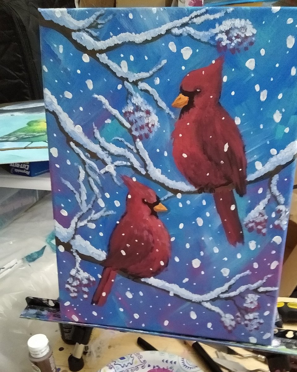 I recently painted with my sister  to learn to #paint #birds. This is my second attempt. This new piece features two crimson #cardinals hanging out in a #snow #storm.