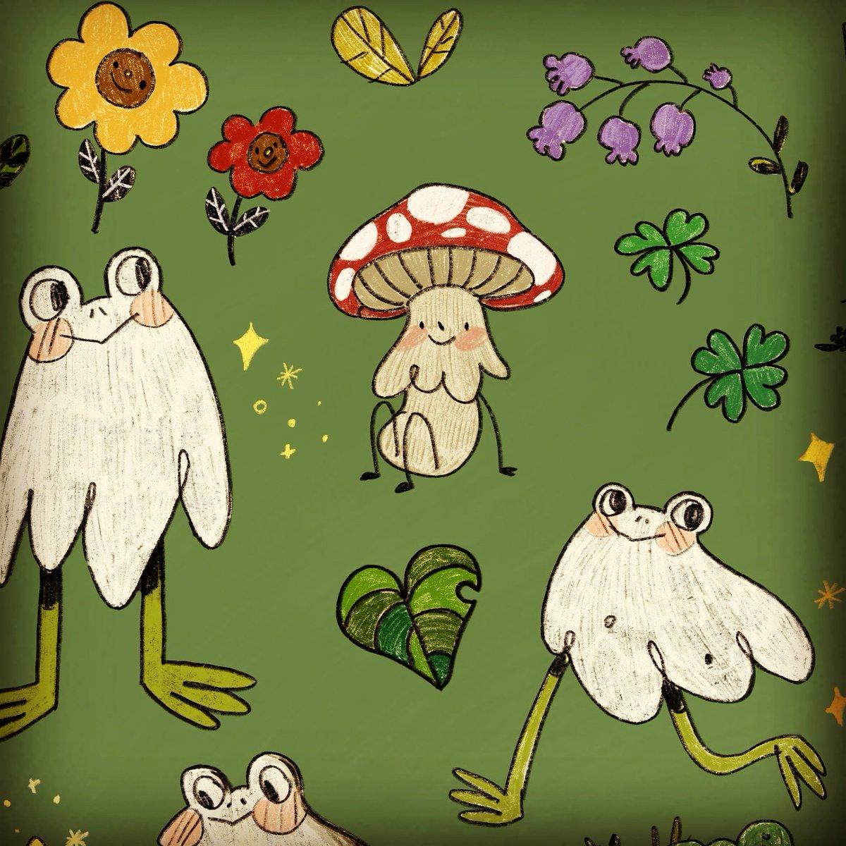 ☆Sticker Sheet in the works!~🐸👻   *  *  *  #illustration #illustratorsofisntstagram #art #artist #artistsoninstagram #illustrator #frogs #frogghost #froghoul #cute #stickers #design #original #originalart #forest #nature  https://t.co/k0PLlzLclI