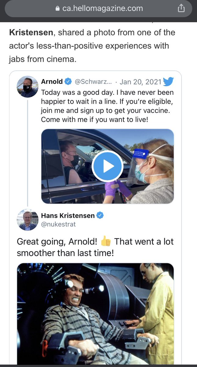 Well, sure didn't expect to see that! Canadian tabloid magazine Hello included my tweet in their coverage of Arnold Schwarzenegger getting a COVID-19 vaccine shot. 😄 https://t.co/PNpOFoebR0 @hellomagazin #COVID19 #arnoldschwarzenegger https://t.co/eDeuqIiUXI