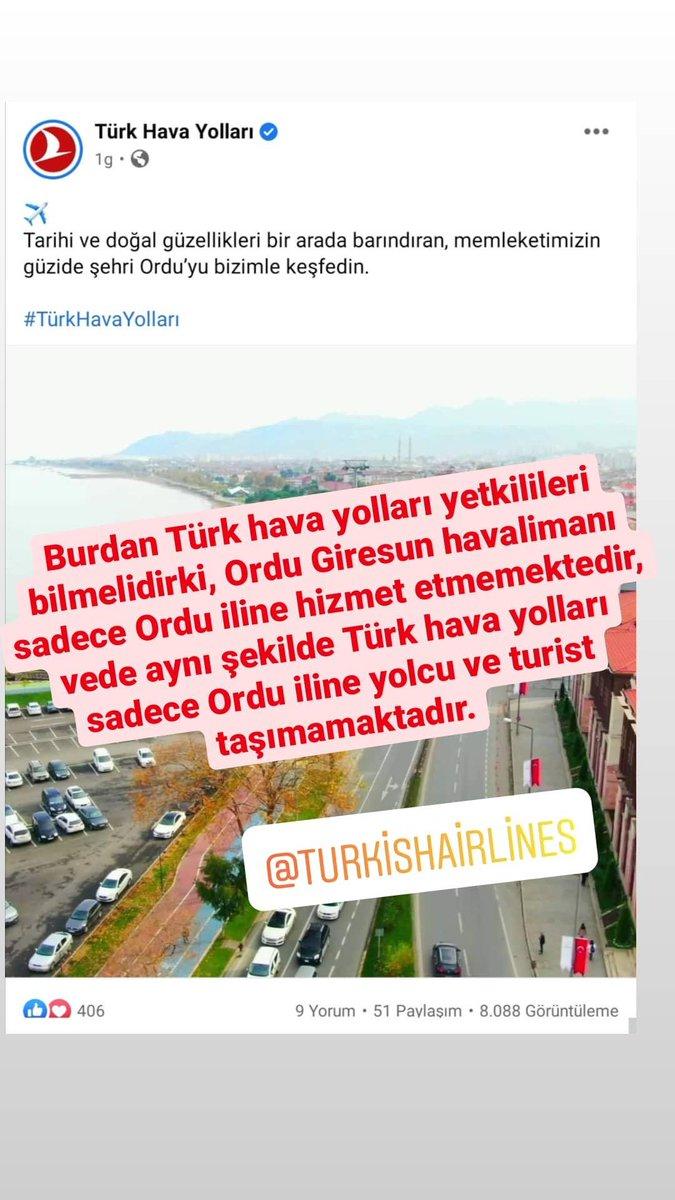 Burdan Türk hava yolları yetkilileri bilmelidirki, Ordu-Giresun havalimanı sadece Ordu iline hizmet etmemektedir, vede aynı şekilde Türk hava yolları sadece Ordu iline yolcu ve turist taşımamaktadır. @TK_TR @BilalEksiTHY  #thy #turkishairlines  #giresun @avsenlikoglu