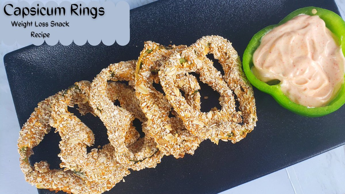 Capsicum Rings with Oats in Air Fryer, An Unique Weight Loss Snacks. #weightloss #weightlossdiet #airfryer #HealthyFood #HealthyEating
