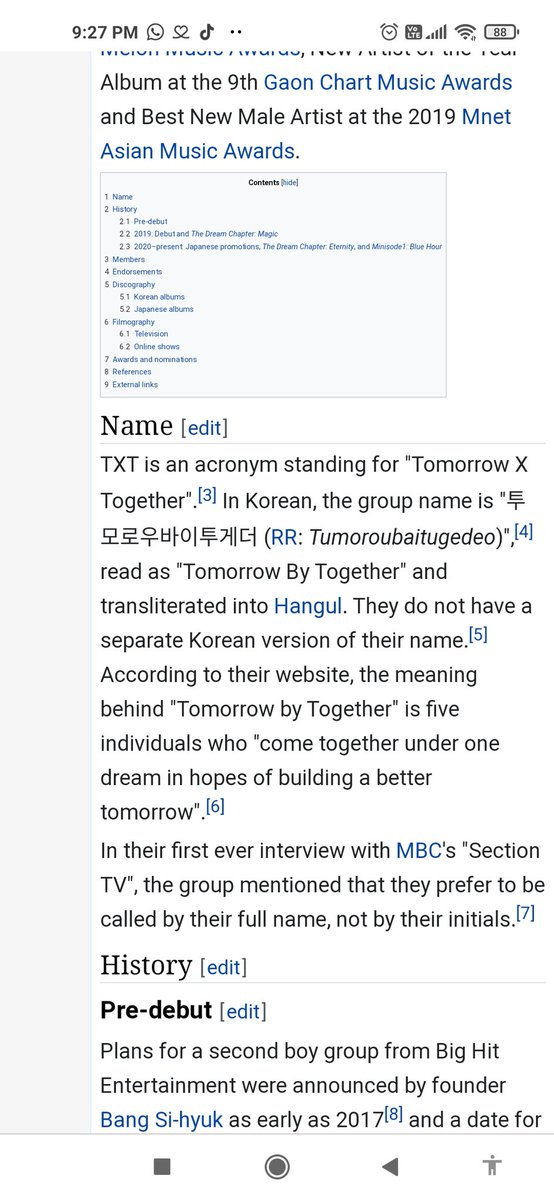 """@TXTSocialCharts @TXT_members @TXT_bighit TXT is an acronym standing for """"Tomorrow X Together"""".[3] In Korean, the group name is """"투모로우바이투게더 (RR: Tumoroubaitugedeo)"""" #투모로우바이투게더 #TXT #TOMORROW_X_TOGETHER @TXT_bighit @TXT_members"""