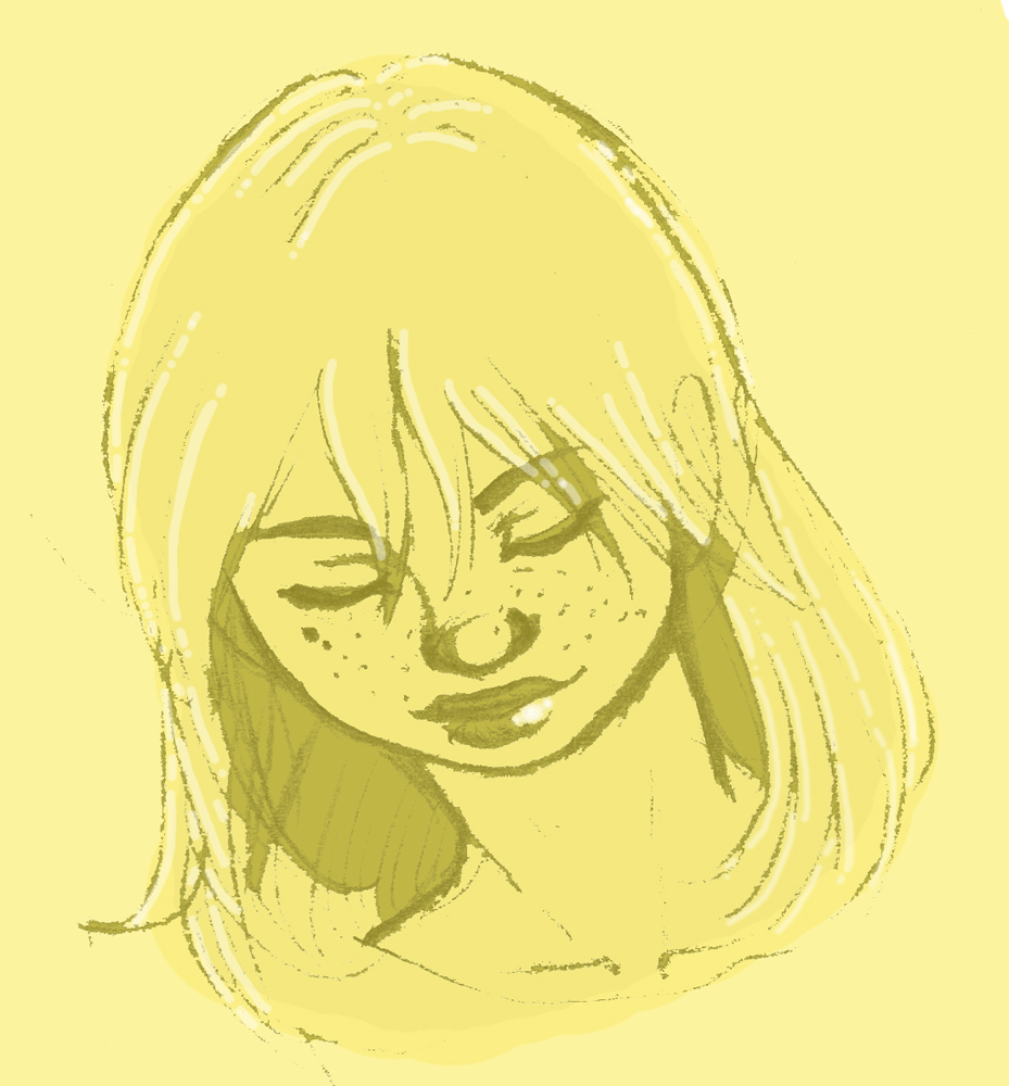 Old sketch from Deviantart. This was even back before I had a tablet!  #sketch #yellow #portrait #girl