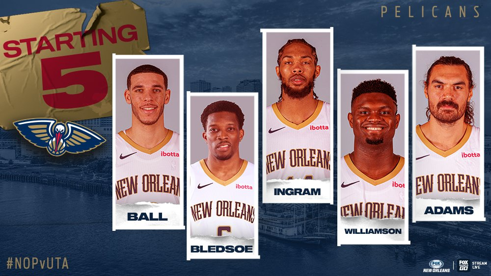 The starting 5️⃣ for the @PelicansNBA tonight!!  @PelicansNBA | #WontBowDown https://t.co/2PpvqFGrF2