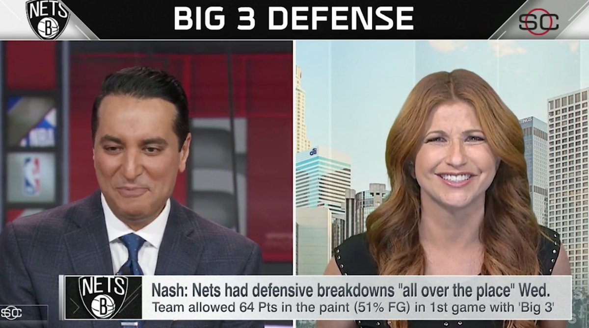 Talking Nets defense with @KNegandhiESPN. In the past 25 years, only one team has won a title ranked outside the top-20 defensively (where Brooklyn is now). Time playing together should help the Nets improve, but with no defensive stopper, it's also gonna take effort/sacrifice