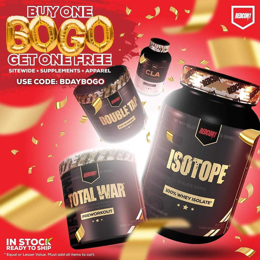 🚨BOGO, 🚨This weekend it's BUY ONE item get a SECOND ONE FREE(equal or lesser value) when you use the code BDAYBOGO!  *equal or lesser value, must add items to the cart* #redcon1 #highesstateofreadiness #birthday #hbd #bogo #birthdaycelebration #fitness