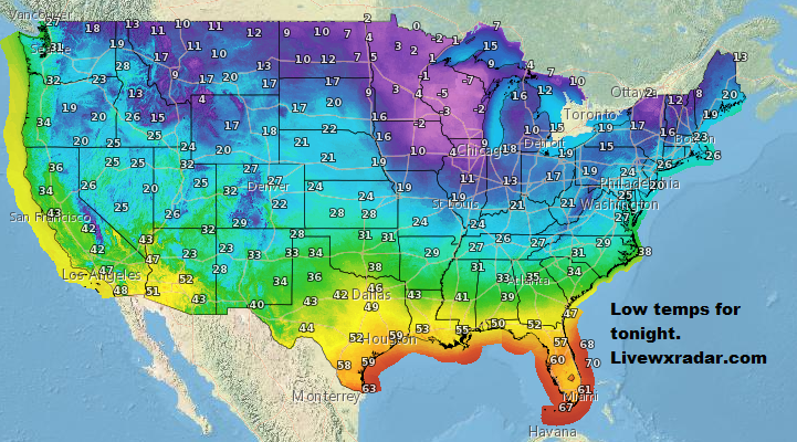 Lows for tonight.                  #wx #weather  #flooding  #nice    #rain #storm #temps  #Freezing #cold# colder #cooling  #lows #usa #nws #news #heat   #Friday    #night #week #day
