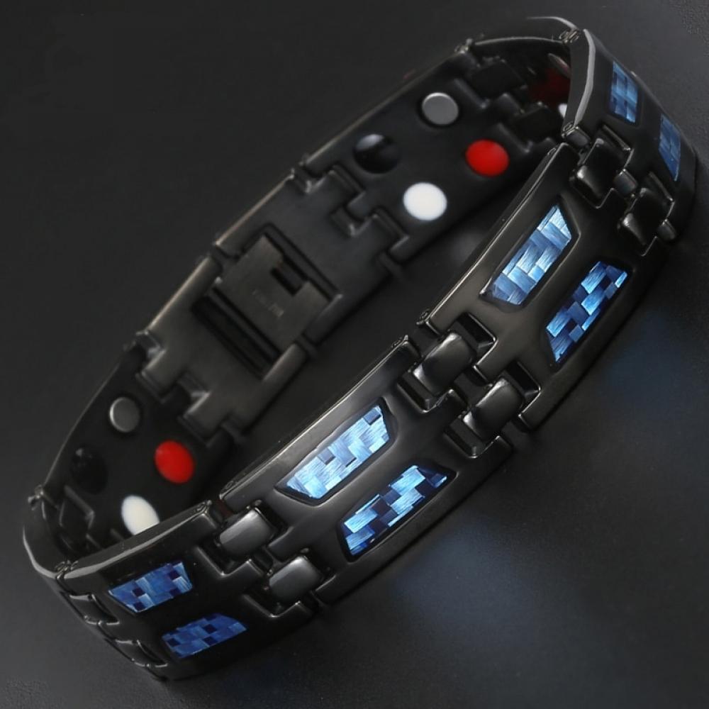 #cool #cute Magnetic Germanium Titanium Blue Carbon Fiber Bracelet for Men