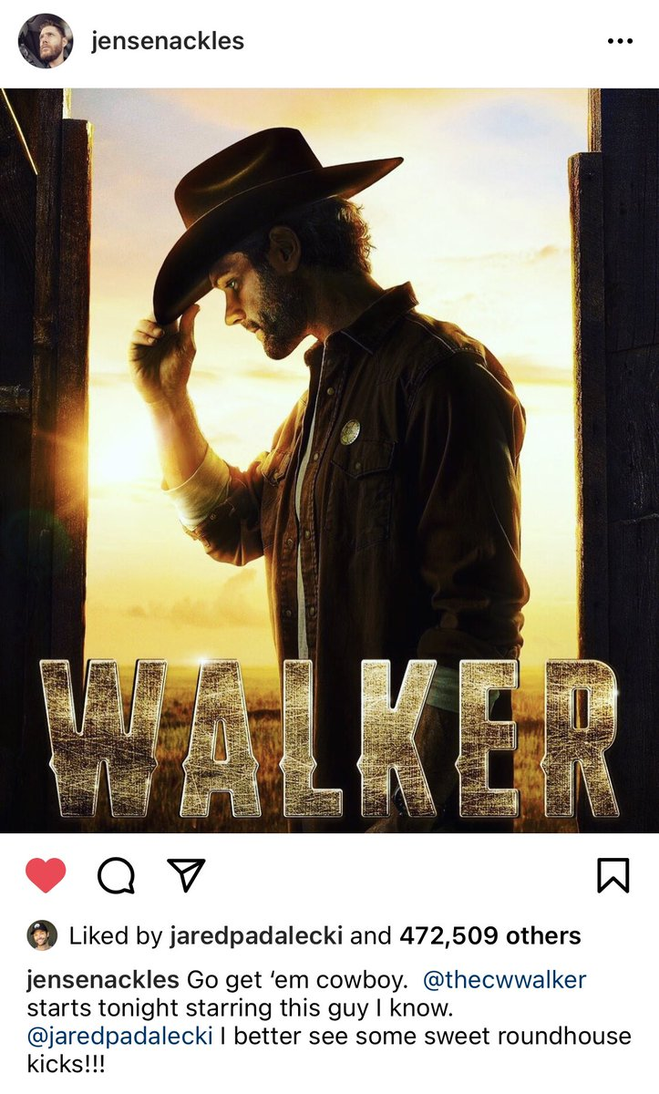 Oh my heart ❤️  Jensen supporting his bestie 🥰 So excited for #Walker but I miss j2 together on my screen too 😭  #JaredPadalecki  #JensenAckles