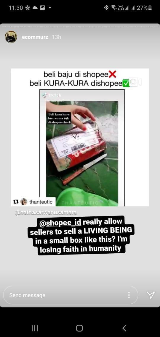 Tolong dong @ShopeeID tindak sellers yg seperti ini mulai meresahkan! Menjual hewan hidup seperti benda mati.... @AnimalDefenders