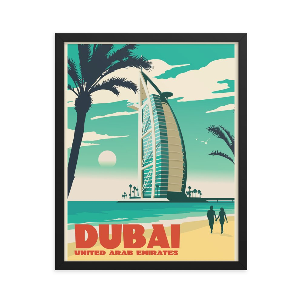 Retweet and Follow to enter our monthly #vintage #travel #poster #giveaway  #Dubai United Arab Emirates | Vintage-Style Travel Poster | Framed Print      #etsy #vacation