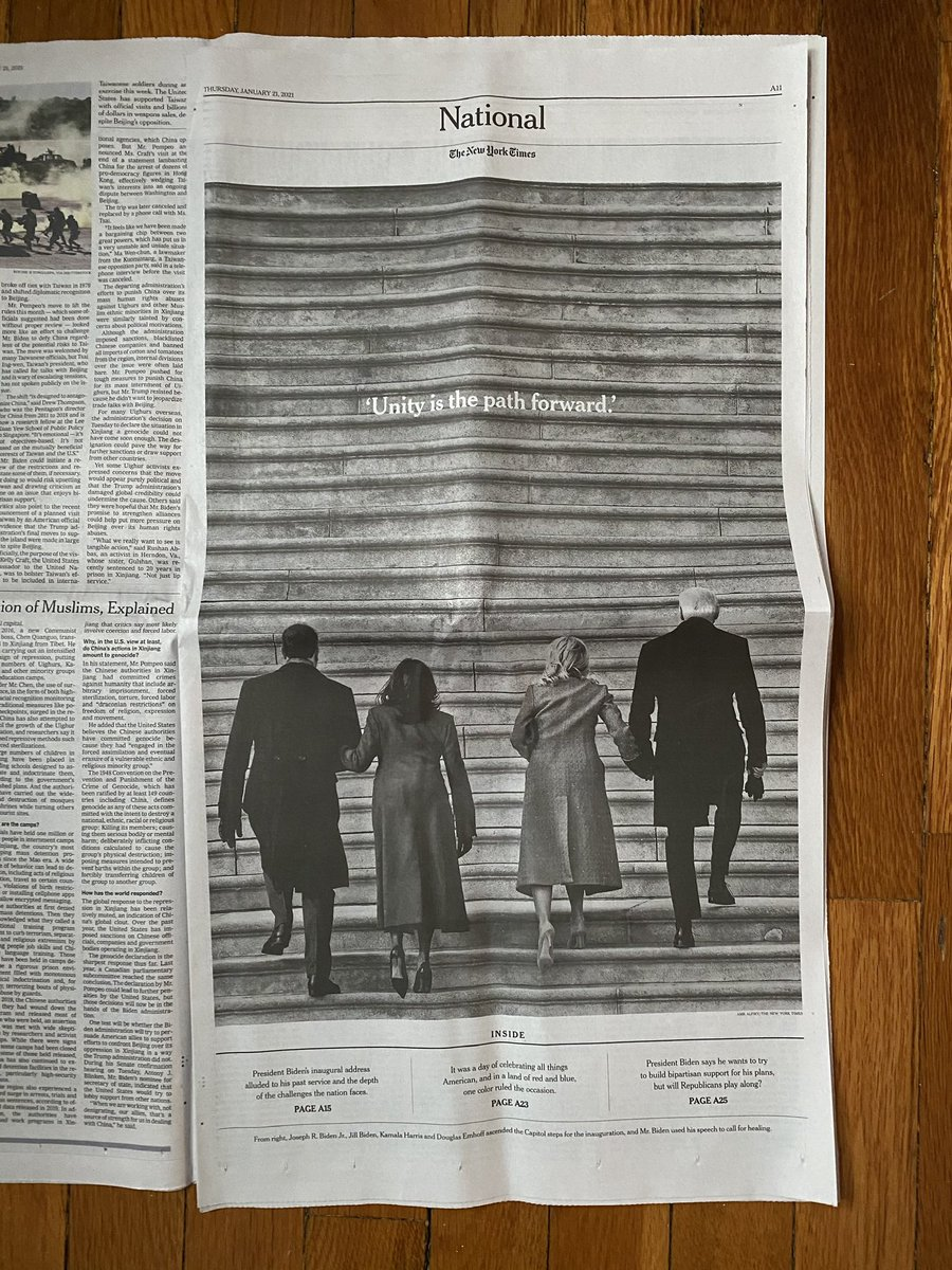 So thrilled to see my photo of President @JoeBiden and Vice President @KamalaHarris arriving with their spouses at the Capitol Hill yesterday for the inauguration ceremony land on the cover of the @nytimes special Inauguration section in today's paper.