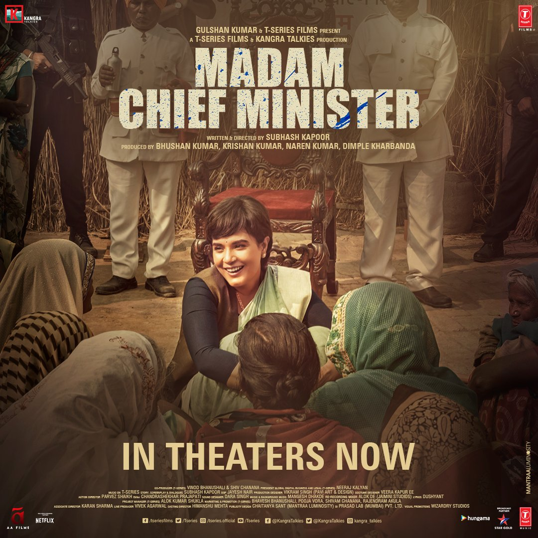 And, it's here! The ultimate showdown between the commoner and the largest political system! #MadamChiefMinister in theatres now! Book your tickets now:   @RichaChadha @saurabhshukla_s #ManavKaul #BhushanKumar #KrishanKumar @subkapoor @KangraTalkies