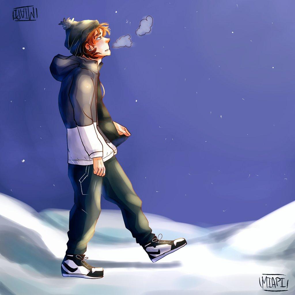 Rubius en la nieve ... ☃️❄️  Probando nuevamente el Ibis Paint   @Rubiu5 espero le guste 👉👈💕✨ . . . . . #draw #fanart #Rubius #nieve #dibujo #rubiusfanart