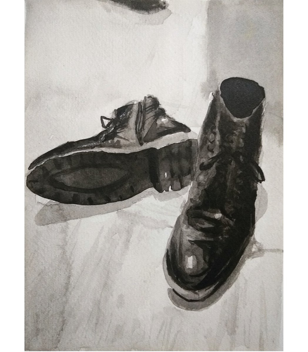 My boots Ink on cotton paper - #art #arts #artwork #visualart #fineart #kunst #mexicanart #mexicanartist #sketch #sketchbook #draw #drawing #contemporarydrawing #inkdrawing #ink #contemporaryrealism #contemporaryart #figurativeart #realism #expressionism #portrait #blackandwhite