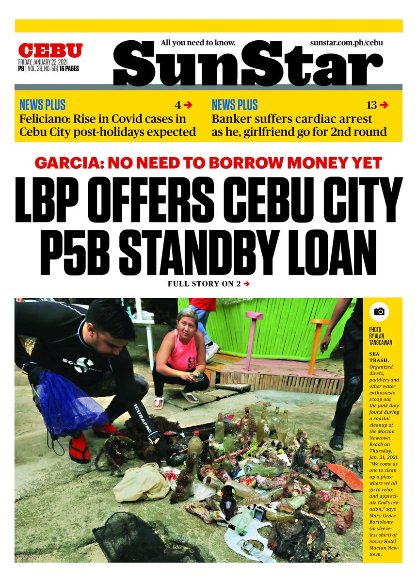 Front page of todays issue of SunStar Cebu. Read Land bank offers Cebu City P5B standby loan at snstr.co/bvU
