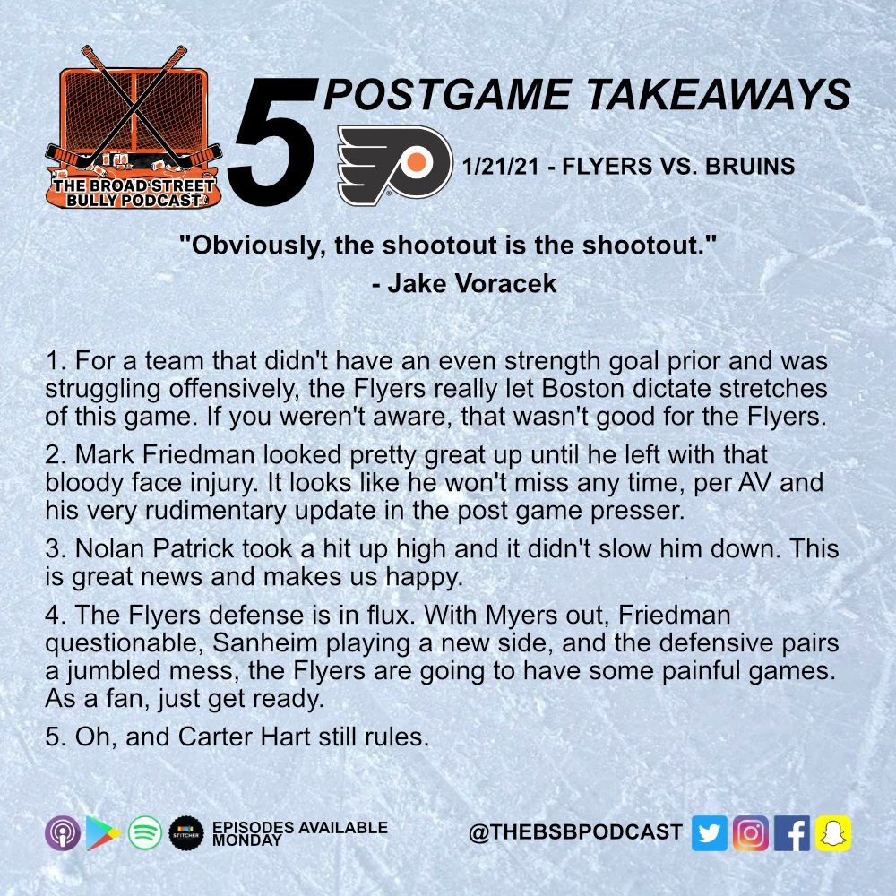 Here're your five points for tonight's #PHIvsBOS game. #AnytimeAnywhere #FlyersTalk