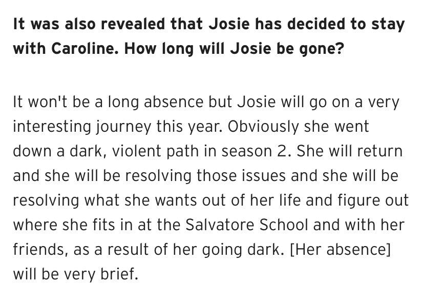 """#Legacies EP Brett Matthews (@brettwmatthews) said Josie's absence """"will be very brief""""  via @azalben"""