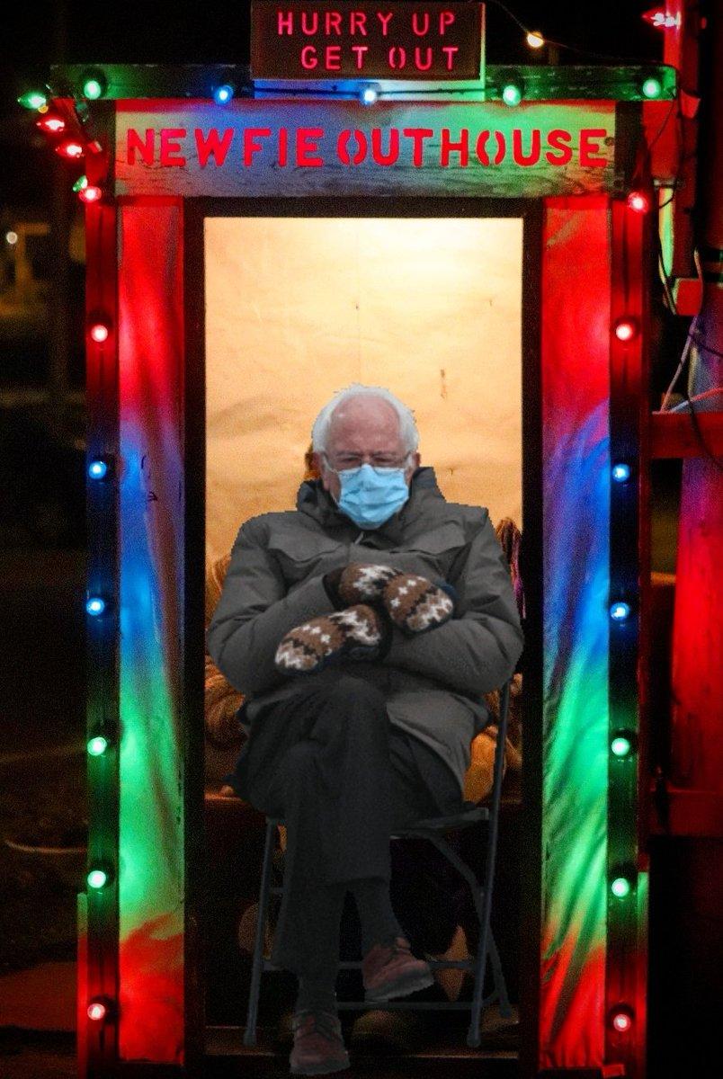 Bernie's in no rush to exit the Newfie Outhouse. LOL #Bernie #Berniememes #berniememes2021