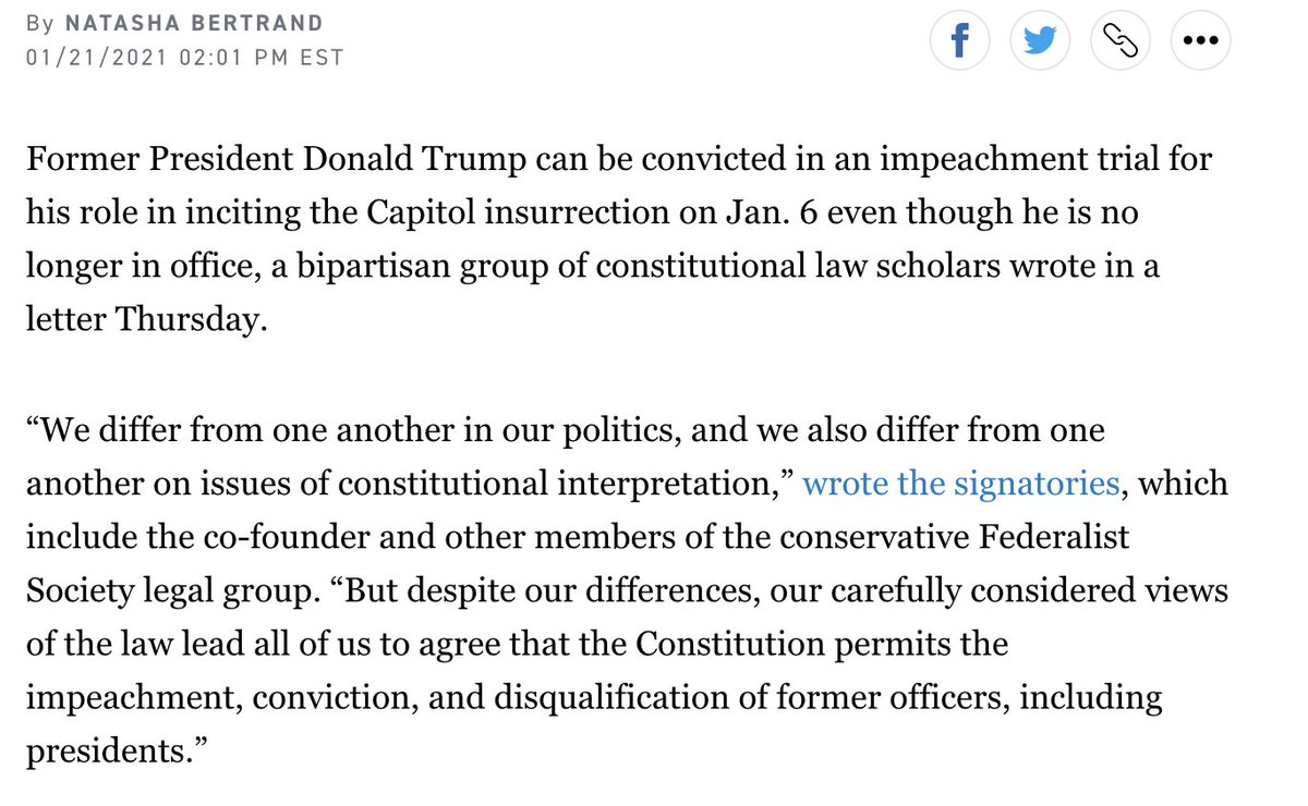 Letter from 150 legal scholars affirming the legitimacy of conviction and disqualification for an impeached official who has already left office,
