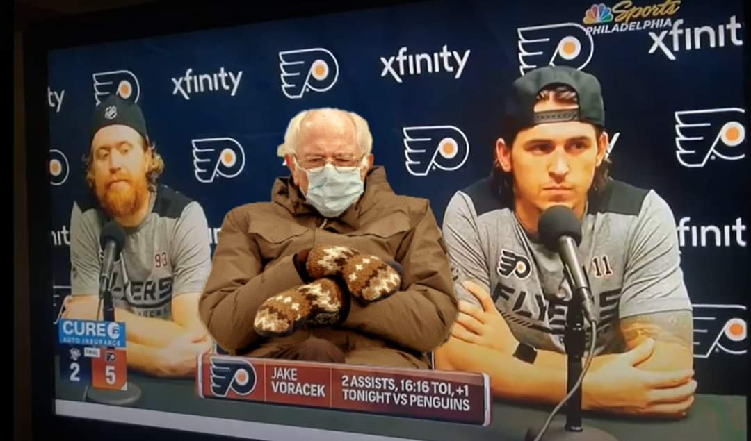 I couldn't help myself! Jake and TK's most recent press conference! @NHLFlyers #bernieiscold #FlyersTalk #flyers