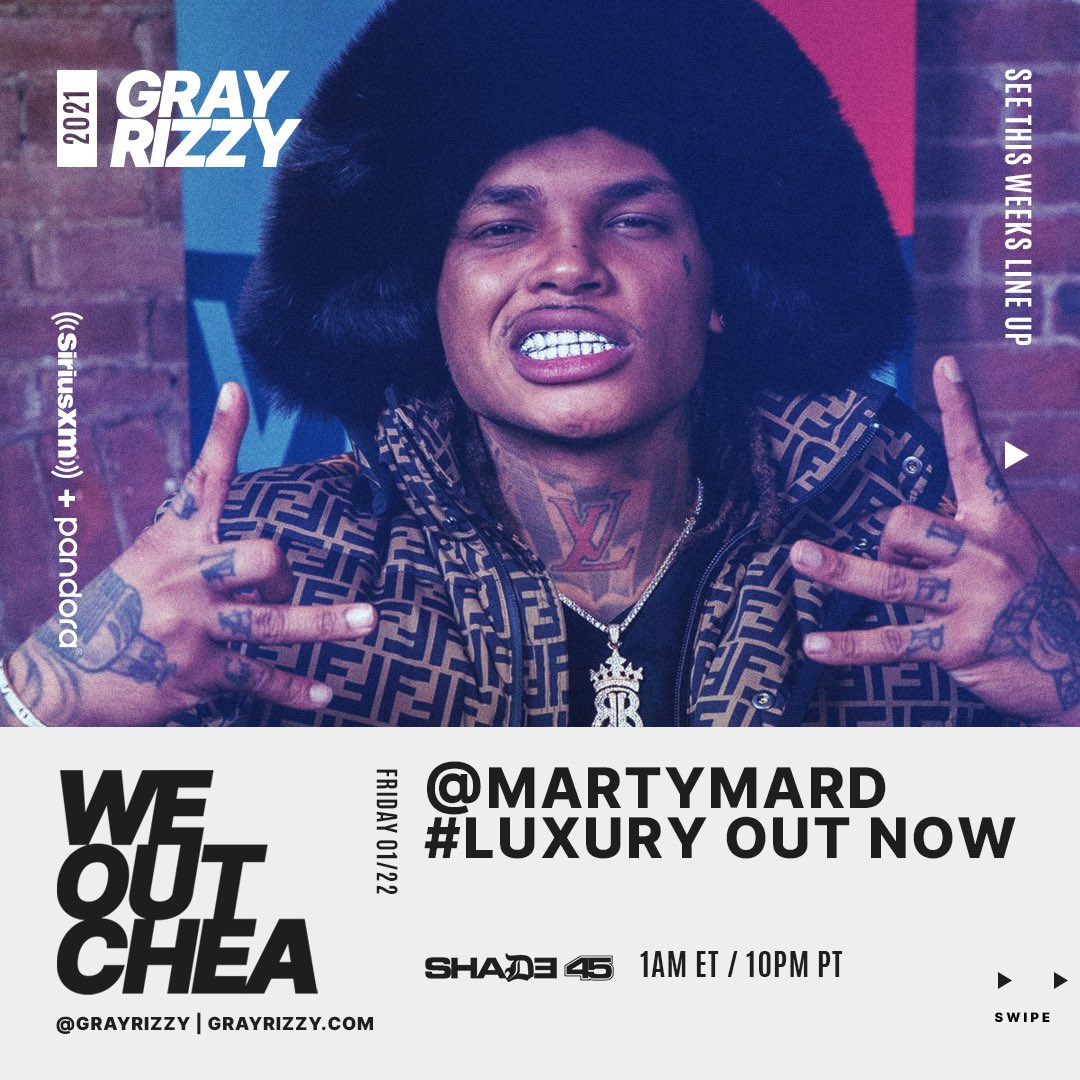 Tonight #WeOutchea with @grayrizzy and special guest @MartyMard talking #Luxury, #NewOrleans roots and more! Show starts at 12a ET. Interview at 1a ET. Tune in! 🔥