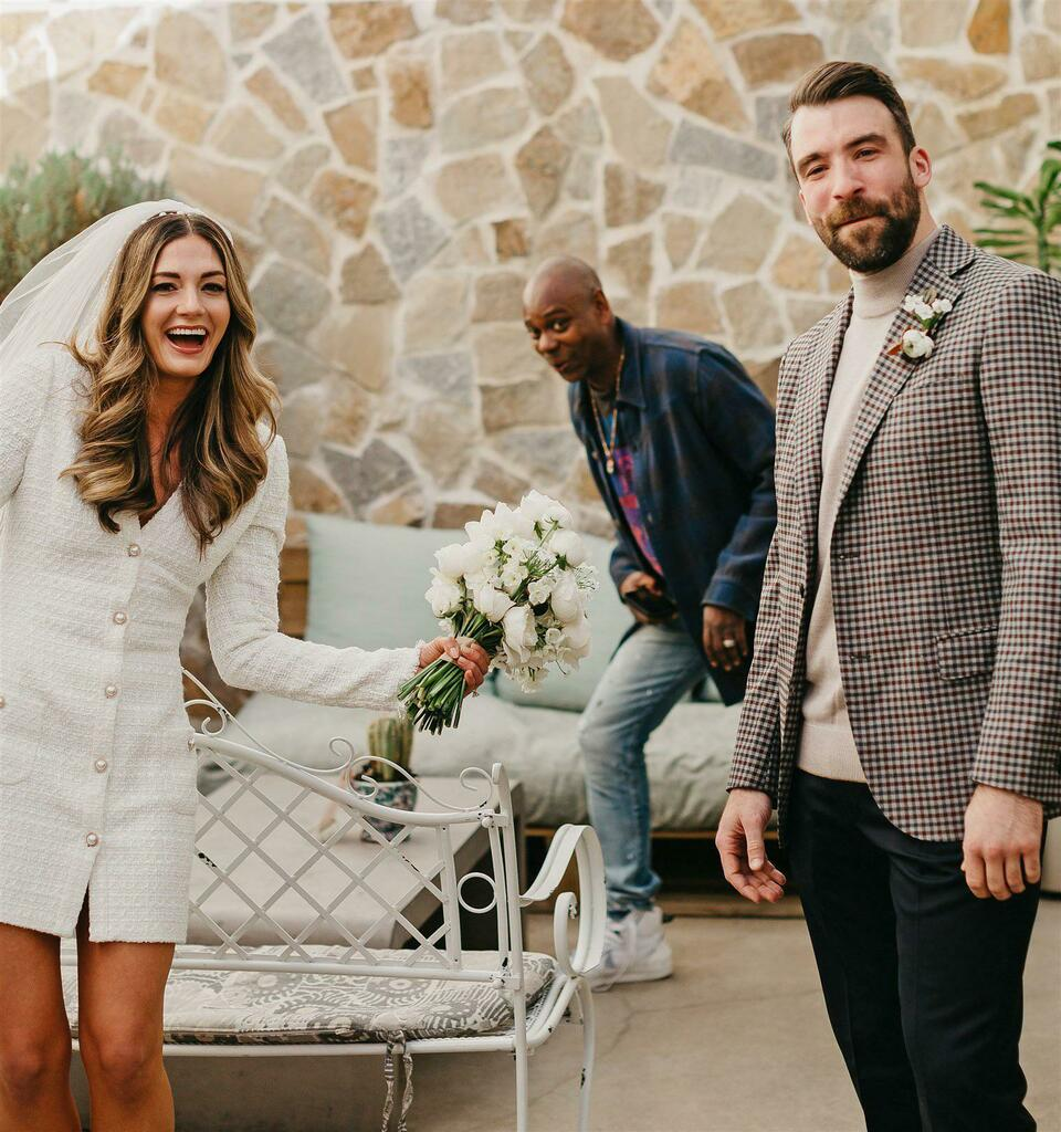 Dave Chappelle photobombs newlyweds' first photo as husband and wife via /r/funny  #funny #lol #haha #humor #lmao #lmfao #hilarious #laugh #laughing #fun #wacky #crazy #silly #witty #joke #jokes #joking #epic #funnypictures