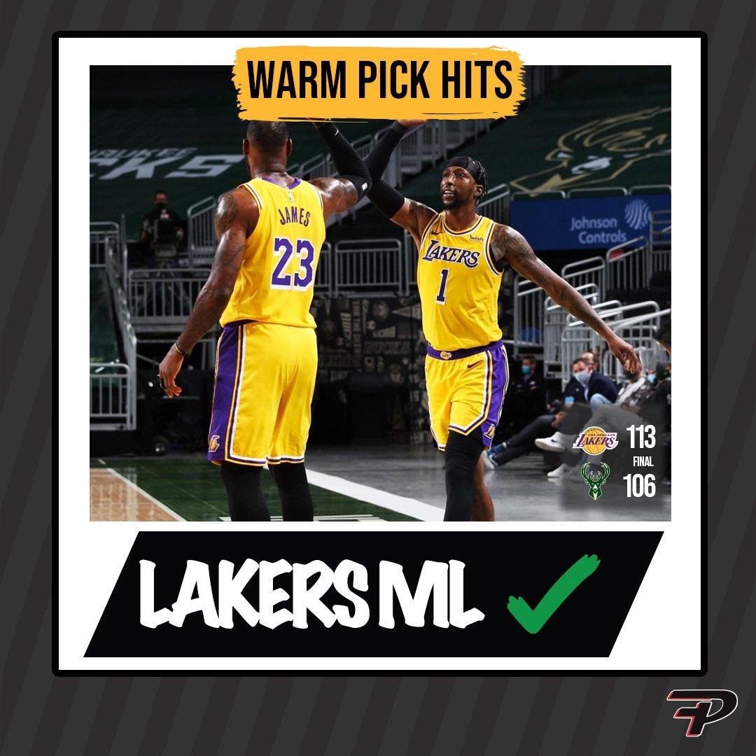 Warm picks hit as the #LakeShow improve to 8-0 on the road this season  #NBA #Lakers #Bucks #sportsbets #NBAPicks #aisportsbetting #ESPN #fixdpicks #GamblingTwitter #nbatwitter